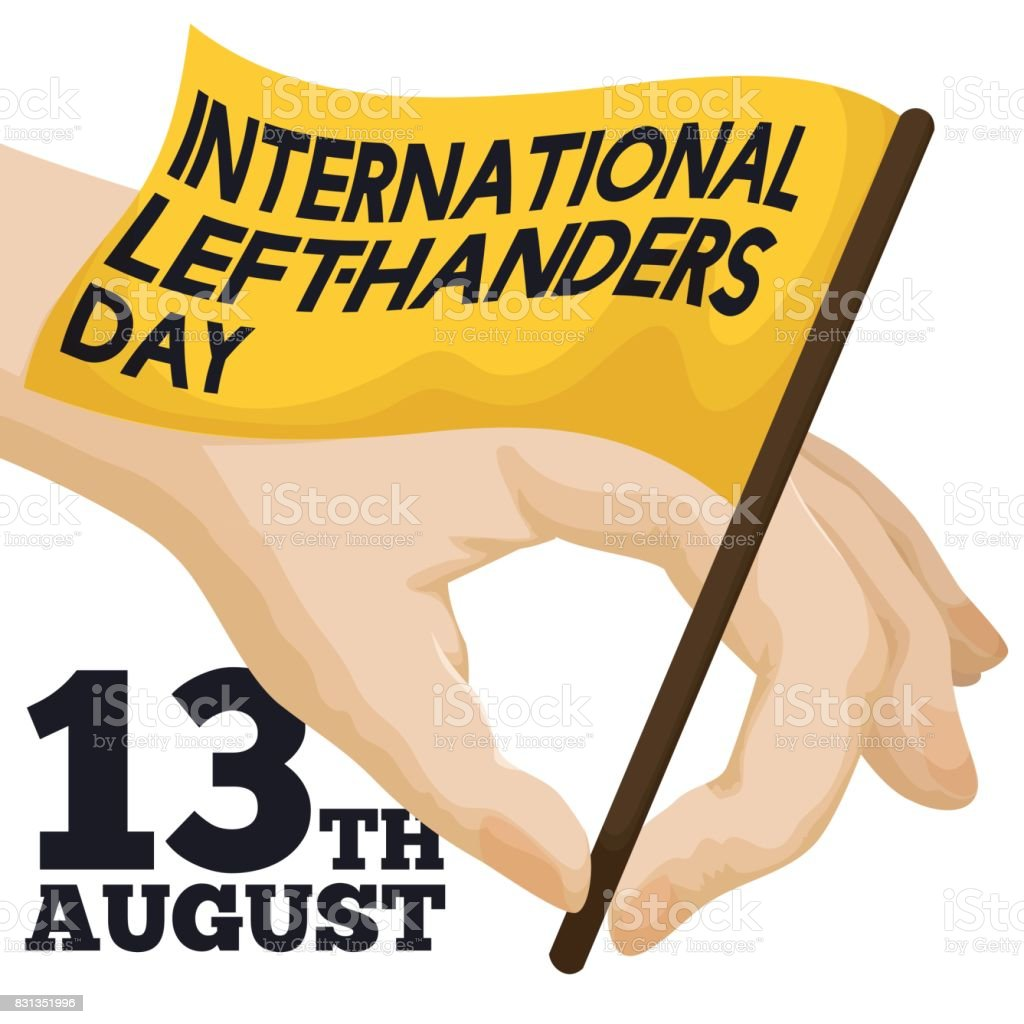 Hand Gripping a Flag to Celebrate International Left-handers Day vector art illustration