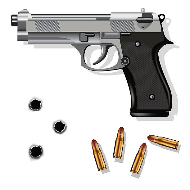 Hand gun Hand gun isolated on white background with bullets and bullet holes. Vector illustration gun stock illustrations
