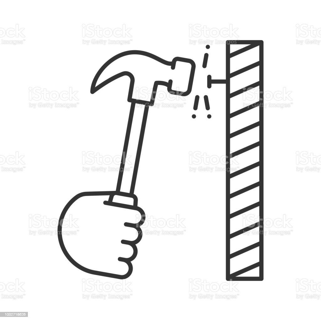 hand hammering nail icon stock vector art  u0026 more images of art