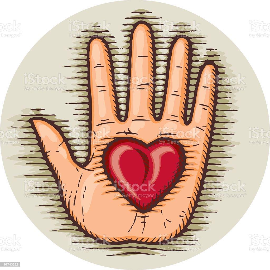 Mão no Coração - ilustração de arte em vetor