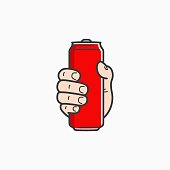 Hand hold can. Male hand holding aluminium red can on white background 8 eps
