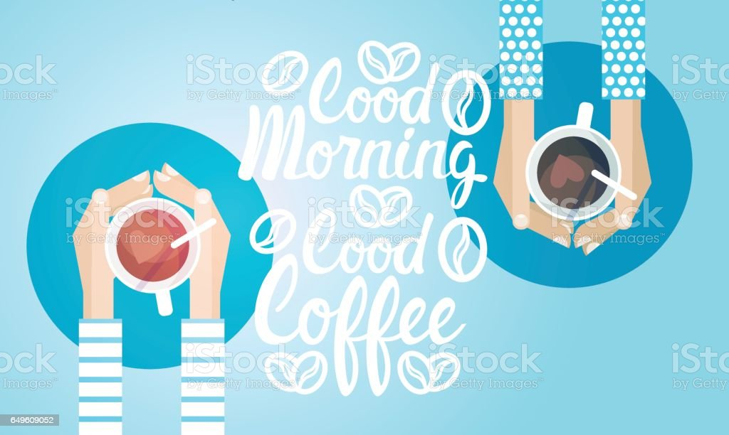 Hand Hold Cup Tea Coffee Break Morning Beverage Banner vector art illustration