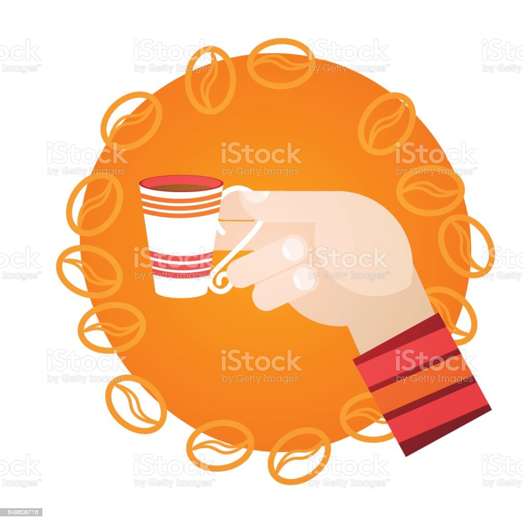 Hand Hold Cup Tea Coffee Break Morning Beverage vector art illustration