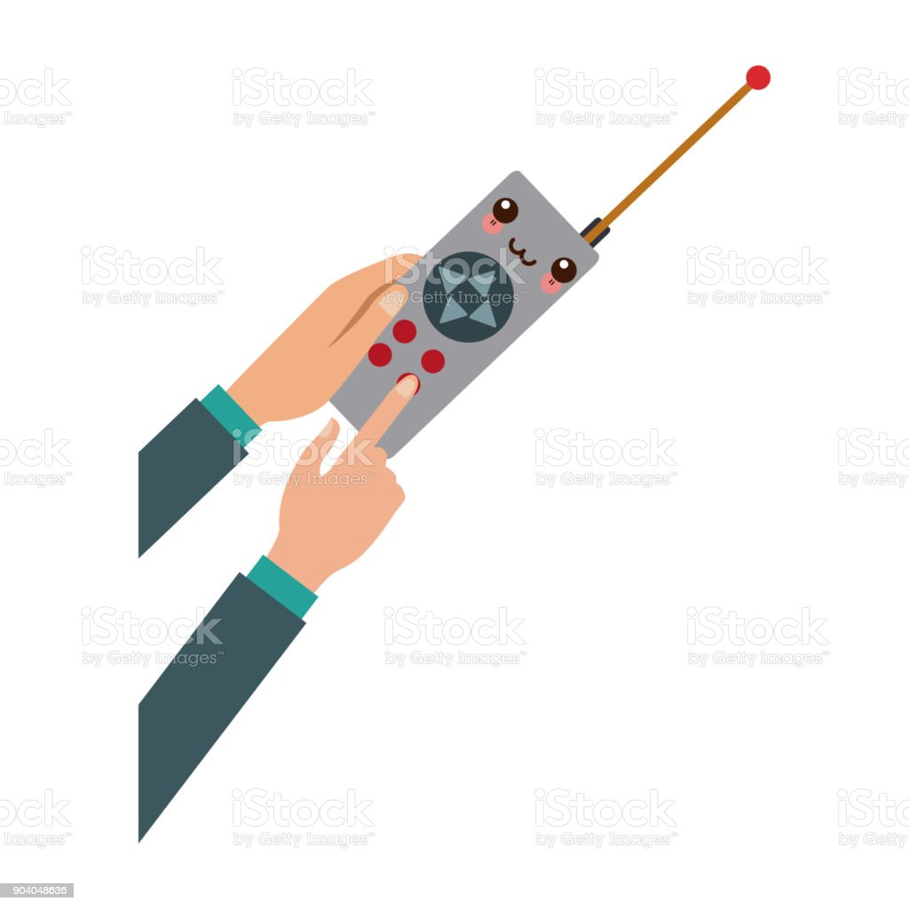 hand hold drone controller gamepad with antenna vector art illustration