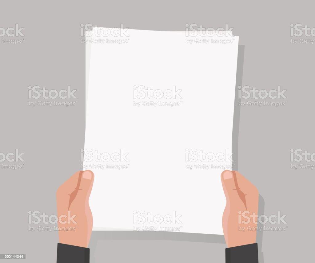 Hand hold empty a4 paper vector illustration. vector art illustration