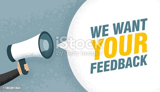 1130633985 istock photo Hand hold megaphone. We want your feedback in bubble. Vector illustration comic retro background 1185081304
