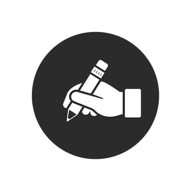 手は、鉛筆のアイコンを保持します。ベクトル分離ボタン - 受付係点のイラスト素材/クリップアート素材/マンガ素材/アイコン素材