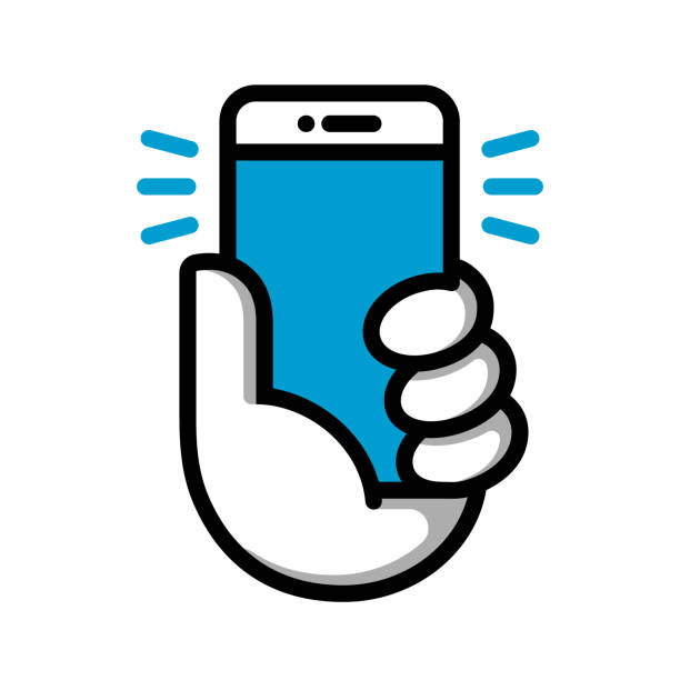 hand halten handy logo. hand halten smartphone. - selfie stock-grafiken, -clipart, -cartoons und -symbole