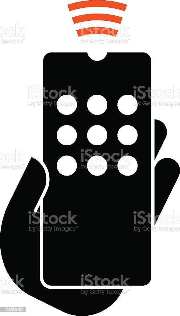 Hand hold remote control icon vector art illustration