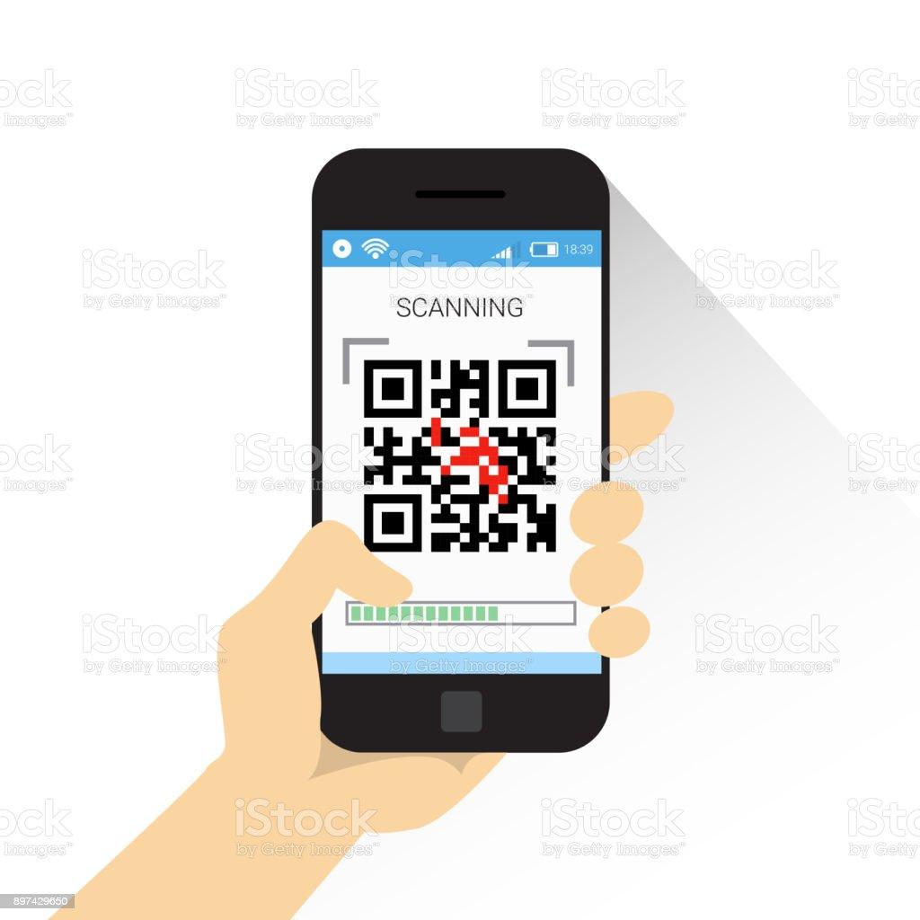 Hand Halten Smartphone Scannen Qrcode Symbol Barcodescan Mit Telefon ...