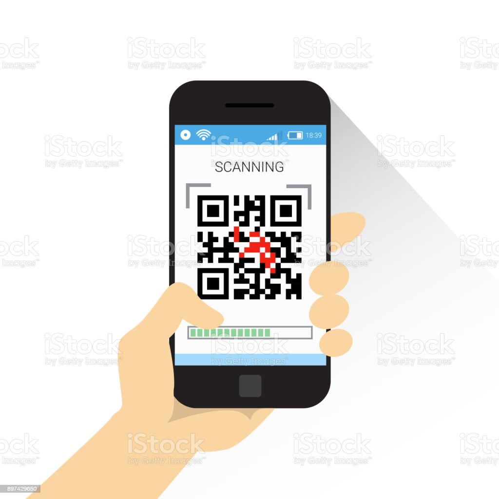 Hand Hold Smart Phone Scanning Qr Code Icon Barcode Scan With Telephone vector art illustration