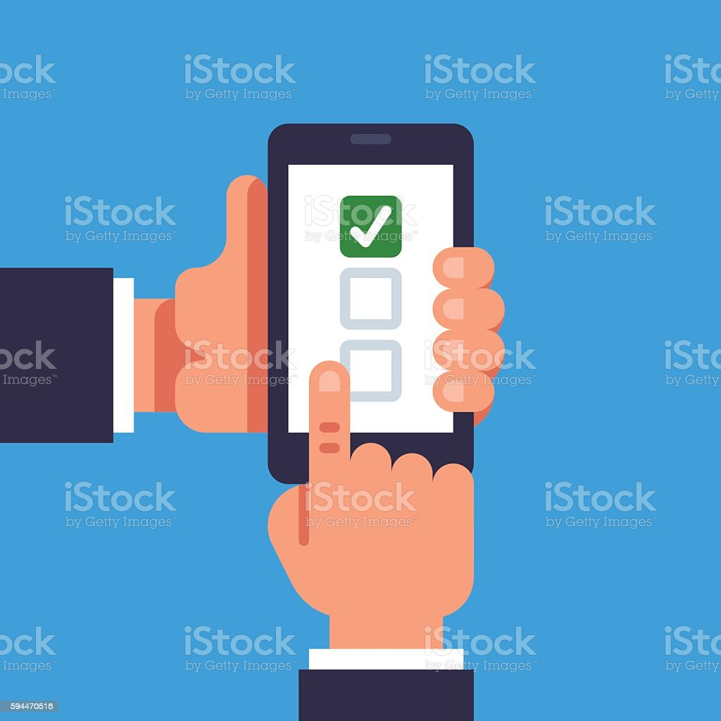 Hand hold smartphone. Checkboxes and checkmark. Choosing concept vector art illustration