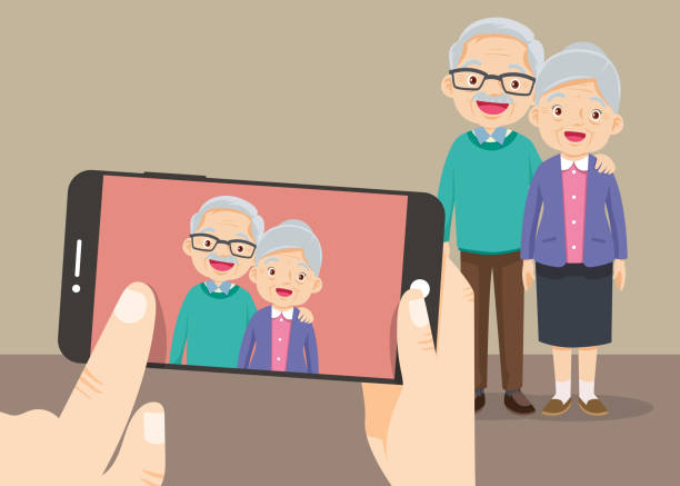 hand hold smartphone with the grandparents take photo - old man funny pictures stock illustrations