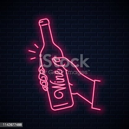Hand hold wine bottle neon sign. Male hand holding a neon wine on wall background 10 eps