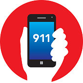 Vector illustration of a white hand holding a smart phone with 911 on the screen on a round red background.