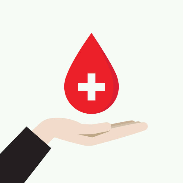 Hand holding a blood donation symbol Red Cross, Save life, Giving, Healthcare, Charity, Blood donor, Blood drop anemia stock illustrations
