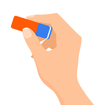 Hand holding a blue and red pencil eraser