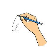 Hand holding a blue pencil in a white background For assembly Or create teaching material for mothers who do Homeschool And teachers who find pictures for teaching materials such as flashcards or children's books.