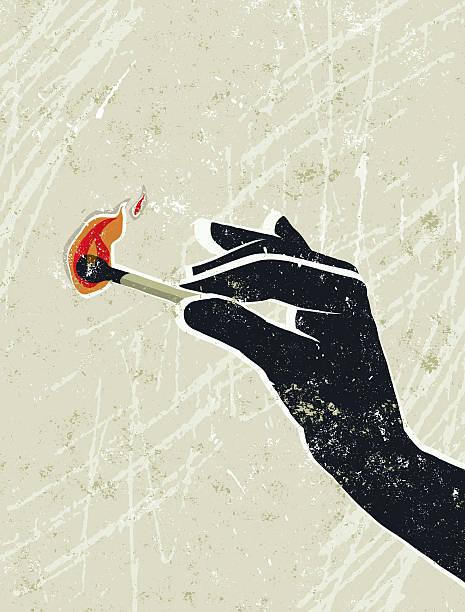 bildbanksillustrationer, clip art samt tecknat material och ikoner med hand holding a burning match - hand tänder ett ljus