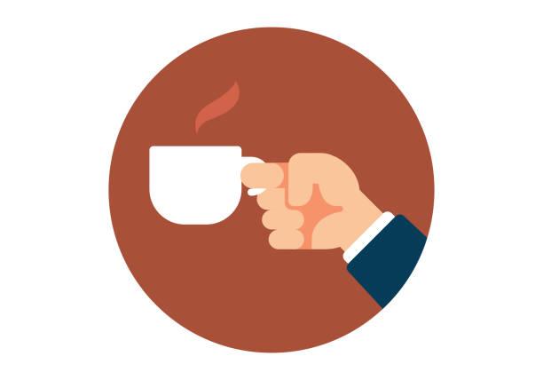 ilustrações de stock, clip art, desenhos animados e ícones de hand holding a coffee cup - pausa para café