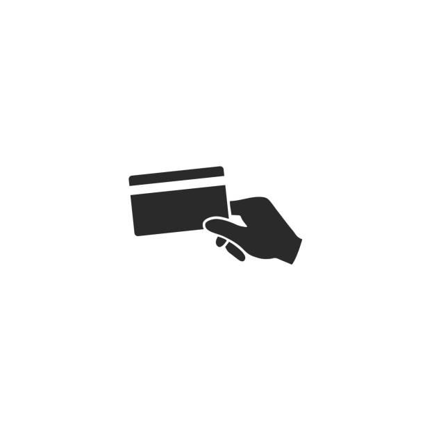 рука, держащая значок кредитной карты. вектор - credit card stock illustrations