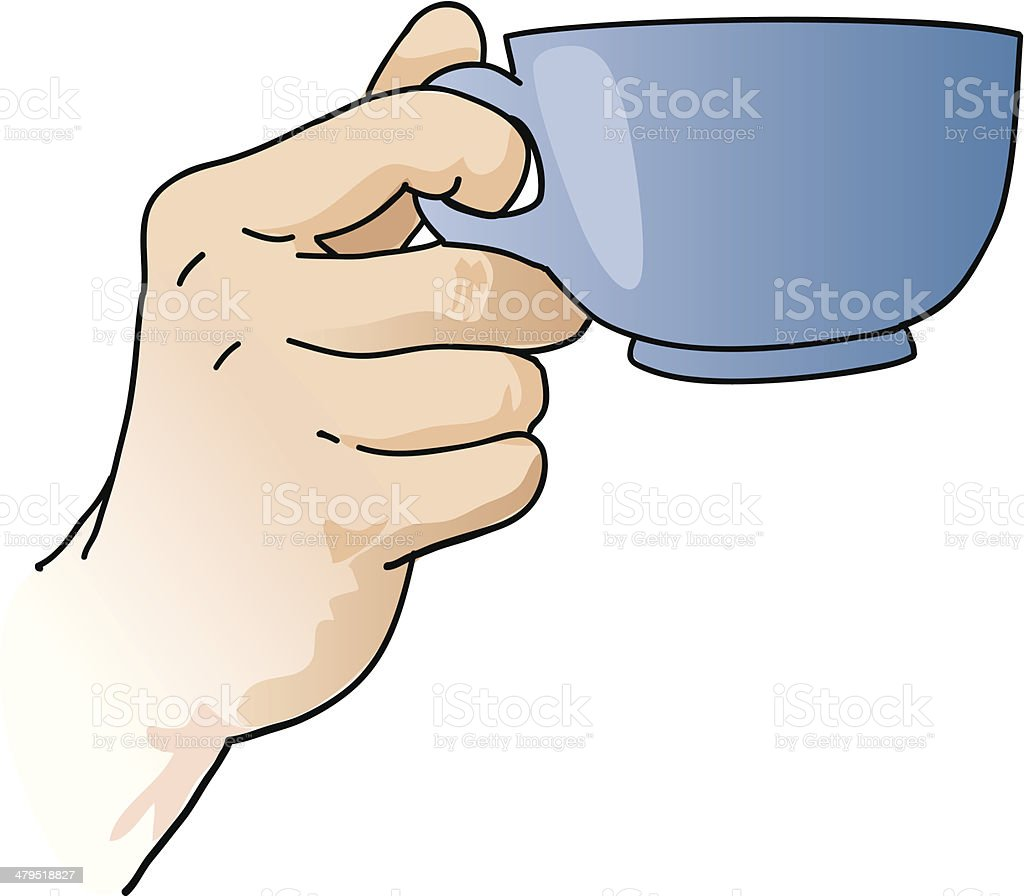 Hand holding a cup royalty-free stock vector art