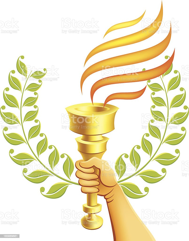 Hand Holding a Flaming Torch royalty-free stock vector art