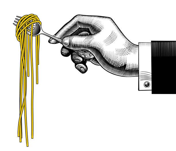 hand mit einer gabel mit spaghetti - spaghetti stock-grafiken, -clipart, -cartoons und -symbole