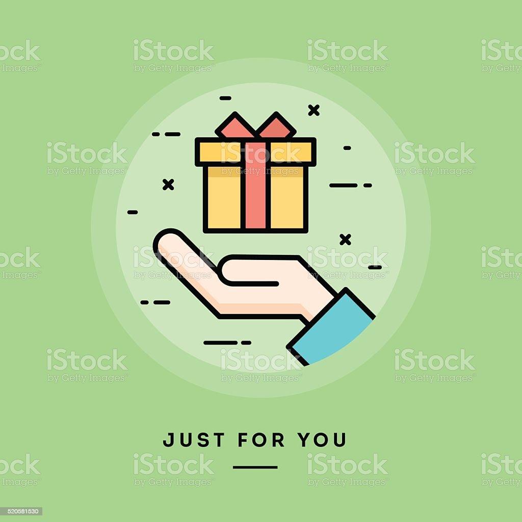 Hand holding a gift box, flat design thin line banner vector art illustration