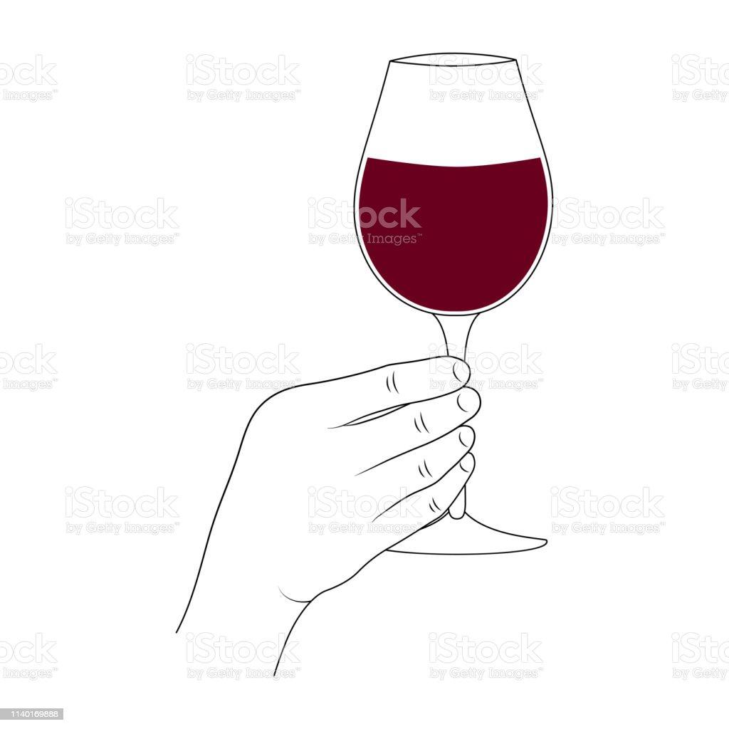 Main Retenant Un Verre De Vin Toast De Célébration Danniversaire Romantique Label Sommelier Illustration Vectorielle Vecteurs libres de droits et plus