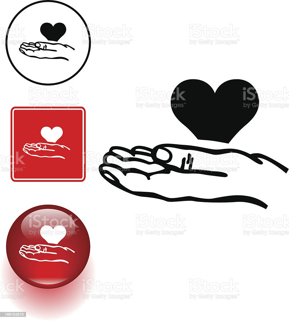 hand holding a heart symbol sign and button royalty-free stock vector art