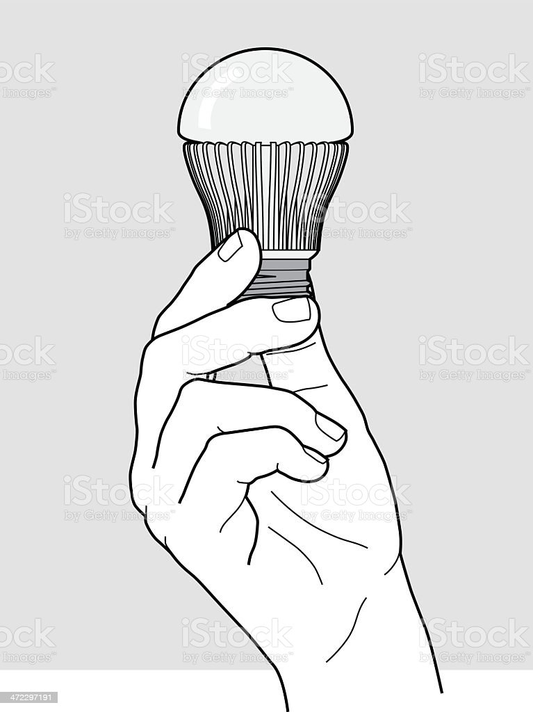 Hand holding a LED light bulb royalty-free stock vector art