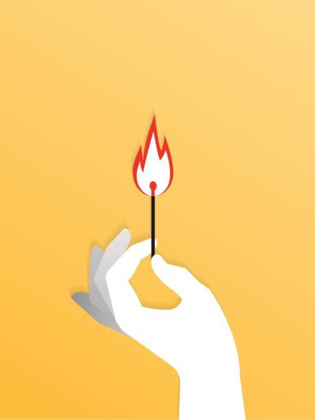 bildbanksillustrationer, clip art samt tecknat material och ikoner med handen håller en upplyst match pinne över gul. vektorillustration - hand tänder ett ljus
