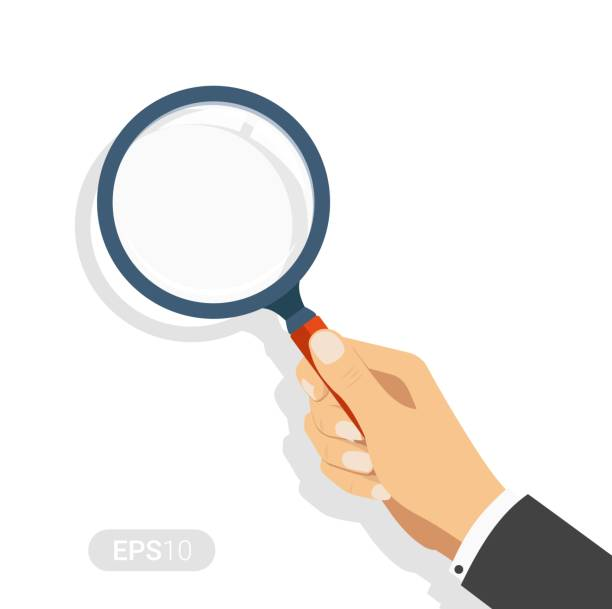 ilustrações de stock, clip art, desenhos animados e ícones de hand holding a magnifying glass. concept of searching, detecting and analyzing. new vector illustration in flat design on white background. detailed flat style - lupa