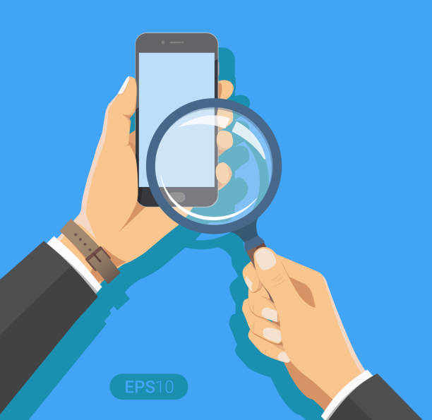 hand holding a magnifying glass. with smartphone device. concept of searching, detecting and analyzing. new vector illustration in flat design on blue background. - hand holding phone stock illustrations