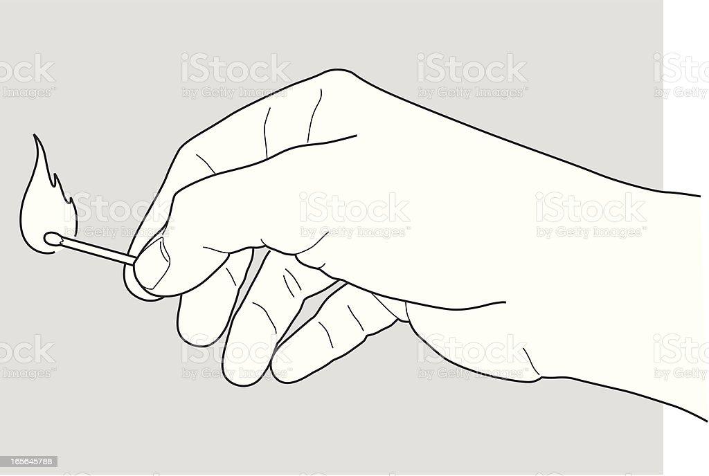 hand holding a match - Royaltyfri Antända vektorgrafik