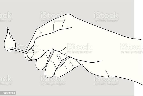 Hand Holding A Match-vektorgrafik och fler bilder på Antända