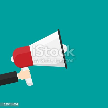 690508154 istock photo Hand holding a megaphone isolated on background. Vector illustration. 1225414509