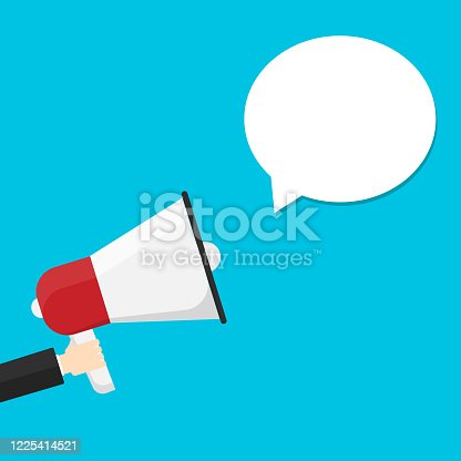690508154 istock photo Hand holding a megaphone with speech ballon isolated on background. Vector illustration. 1225414521