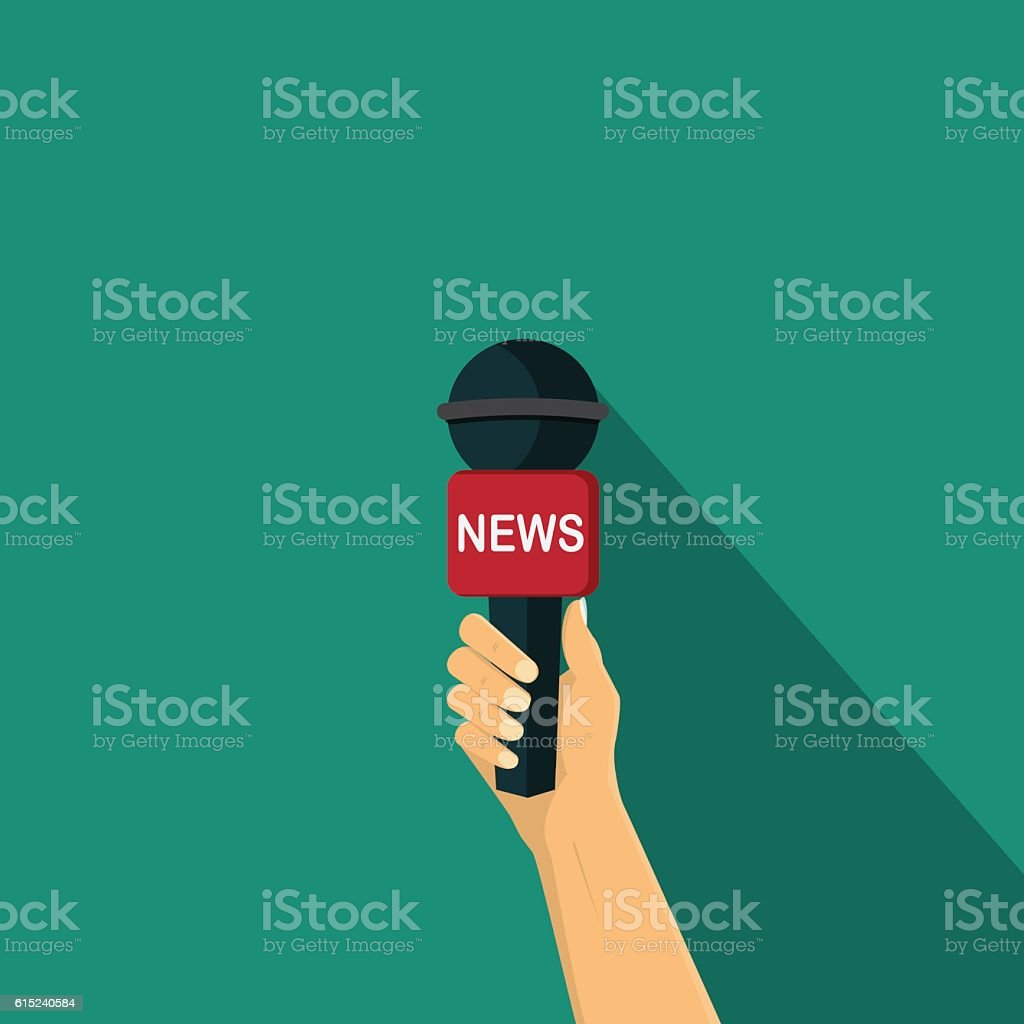 Hand holding a microphone , Interview vector illustration vector art illustration