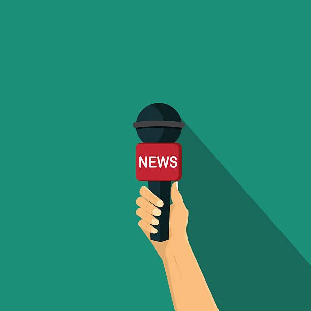 stockillustraties, clipart, cartoons en iconen met hand holding a microphone , interview vector illustration - journaal presentator
