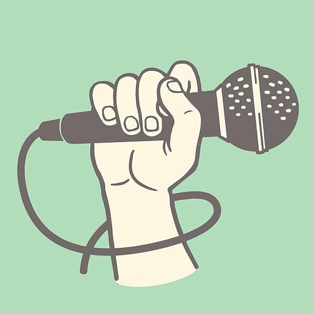 stockillustraties, clipart, cartoons en iconen met hand holding a microphone - zanger
