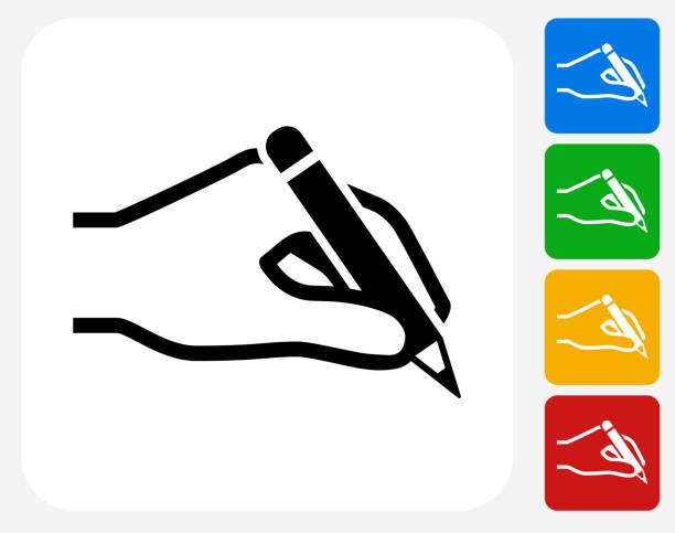 illustrazioni stock, clip art, cartoni animati e icone di tendenza di mano che tiene una matita icona piatto di design grafico - mancino