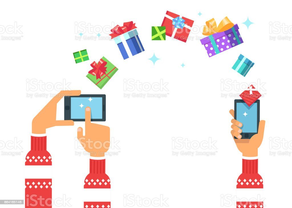 hand holding a phone gadget gives Christmas gifts royalty-free hand holding a phone gadget gives christmas gifts stock vector art & more images of badge