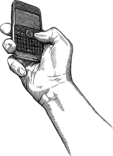 рука держит телефон - hand holding phone stock illustrations