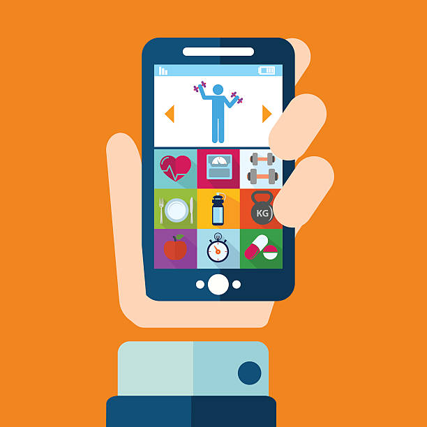 Hand holding a phone with fitness application vector art illustration
