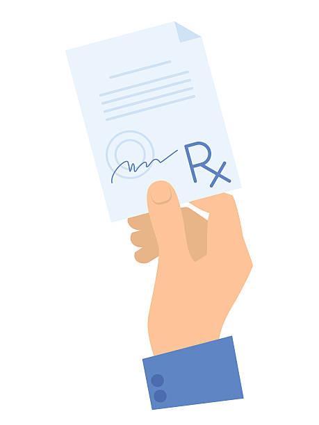 Hand holding a prescription. Medicine and healthcare flat concept illustration. vector art illustration