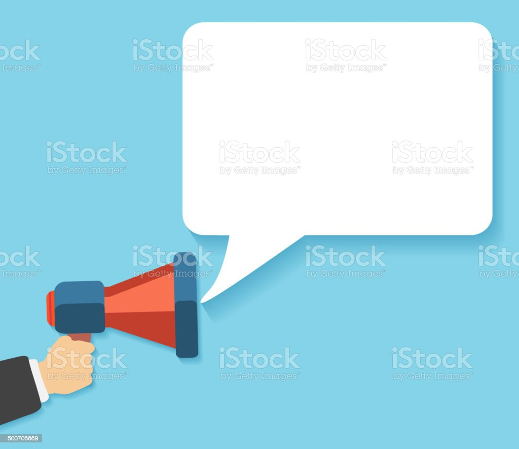 Hand holding a red megaphone with bubble royalty-free stock vector art