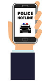 Vector illustration of a hand holding a smart phone with police hotline app on the screen.