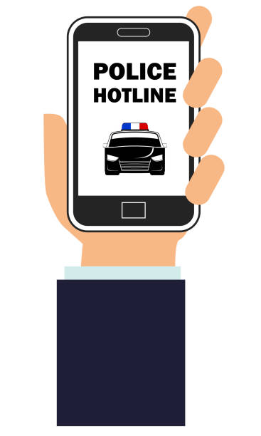 Hand holding a smart cellphone with police hotline app screen vector art illustration